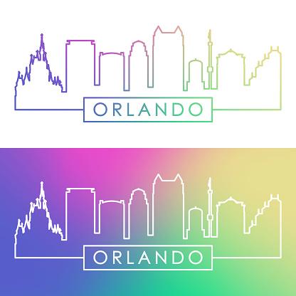 Orlando skyline. Colorful linear style. Editable vector file.