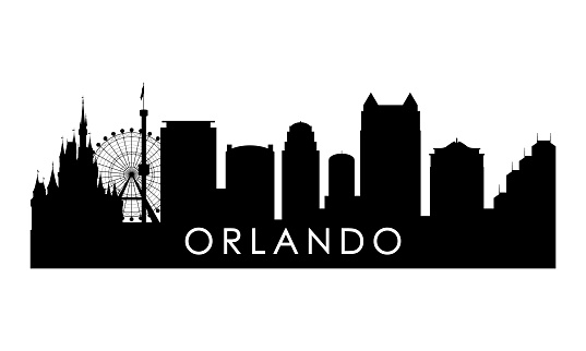 Orlando skyline silhouette. Black Orlando city design isolated on white background.