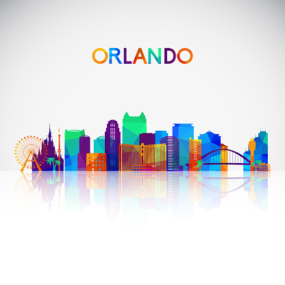 Orlando skyline silhouette in colorful geometric style. Symbol for your design. Vector illustration.