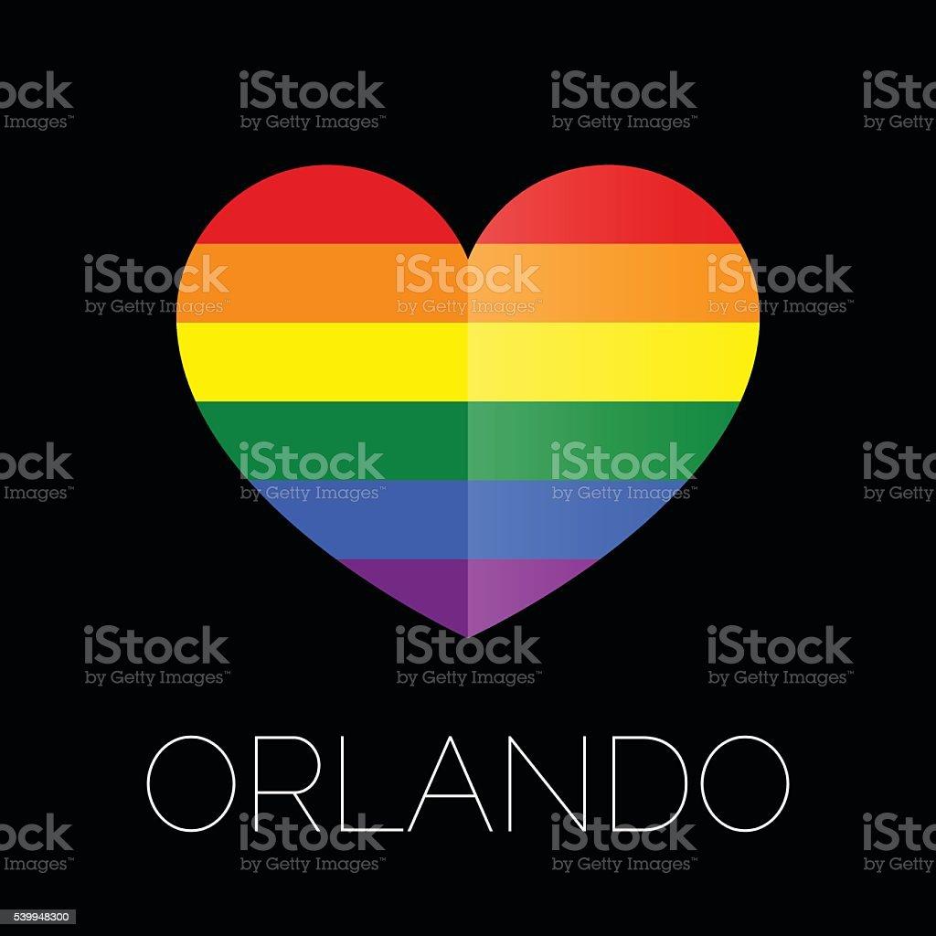 Orlando tragedy. Gay colors heart shape on black background. vector art illustration