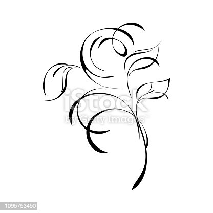 stylized twig with leaves and curlicues in smooth black lines on a white background