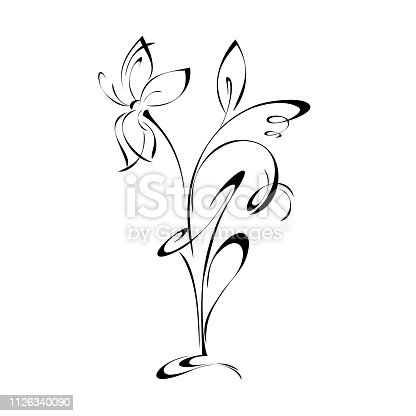 decorative vase with flowers in black lines on white background