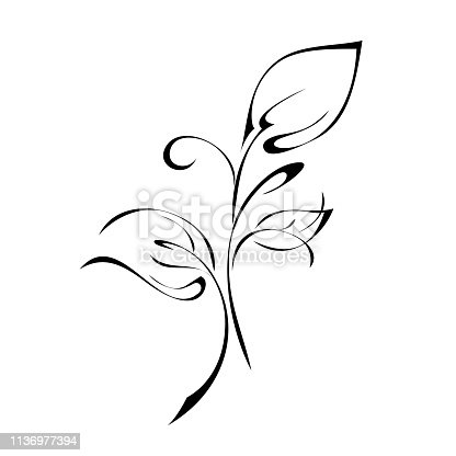 stylized twig with three leaves and curls in black lines on a white background