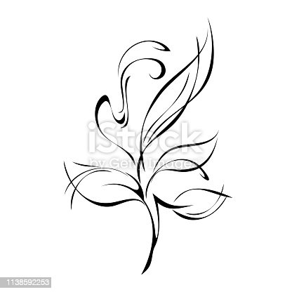 stylized twig with leaves and curls in black lines on a white background