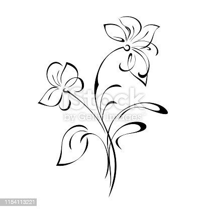stylized twig with two flowers, a leaf and curls in black lines on a white background