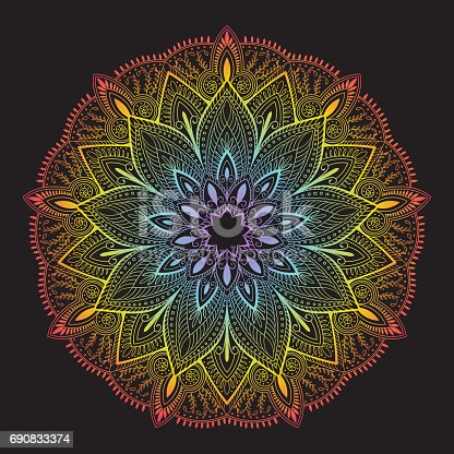 Ornament colorful gradient card with mandala. Vintage decorative elements. symbol. Isolated black background.