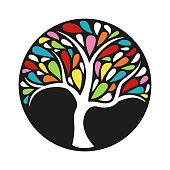 Ornament colorful tree icon on black background. Vector illustration.