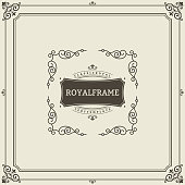 Ornament design invitation template. Vector flourishes calligraphic vintage frame. Good for Luxury, boutique brand, wedding shop, hotel sign.