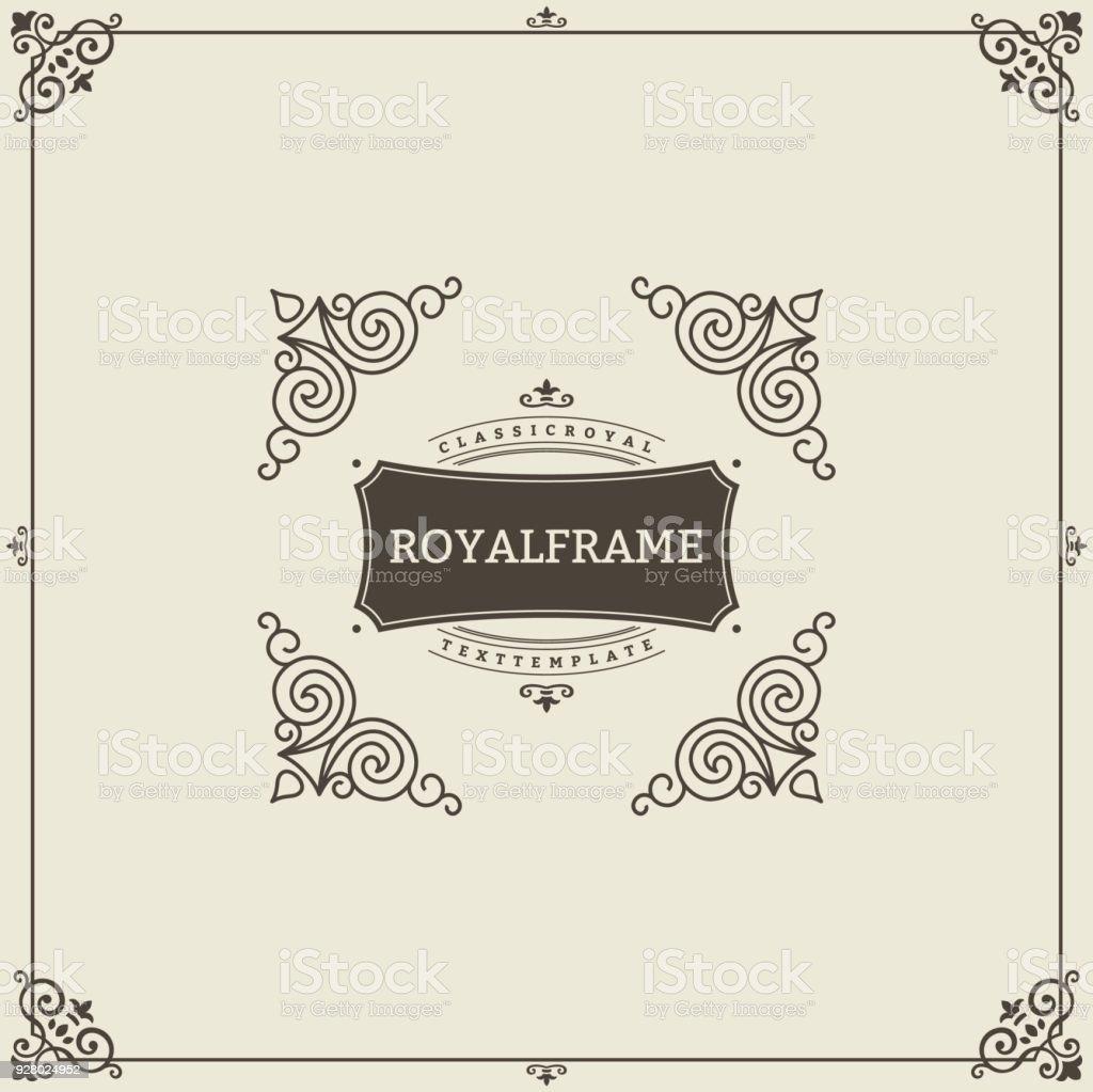 Ornament Design Einladung Vorlage. Vektor Blüht Kalligraphische  Vintage Rahmen. Gut