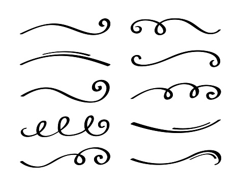 Ornament divider collection. Hand drawn collection of curly swishes. Calligraphy swirl. Highlight text elements. Vector illustration