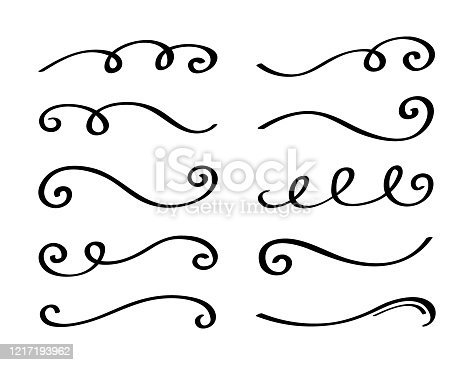 istock Ornament divider collection. Hand drawn collection of curly swishes. Calligraphy swirl. Highlight text elements. Vector illustration 1217193962