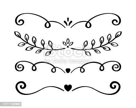 istock Ornament hand drawn divider collection. Vintage lines and borders. Doodle design elements. Vector illustration 1217193965