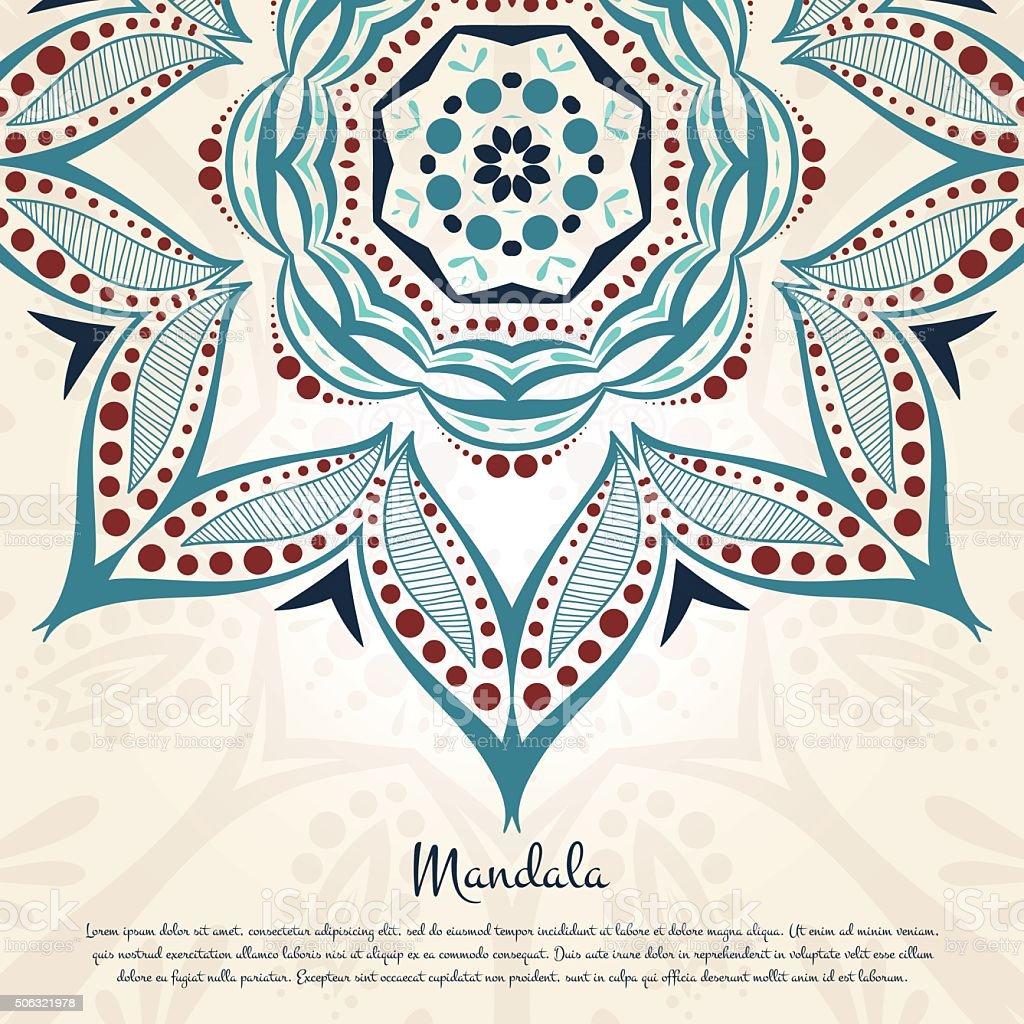 Ornament in beautiful vintage colors. Flower circular background. Mandala. vector art illustration