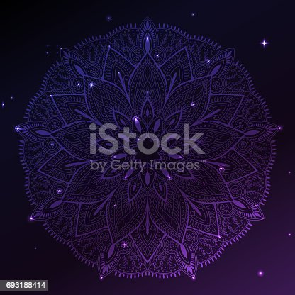 Ornament invitation card with mandala. Geometric circle element made in vector. Mandala for decoration holiday cards, background and sites. Kaleidoscope, yoga, India, arabic. Space background.