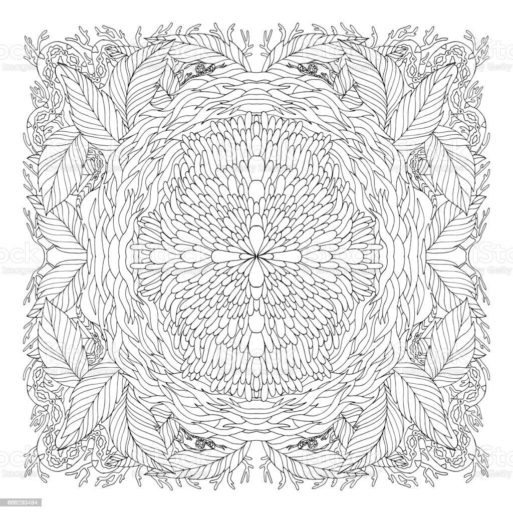 Ornament Runden Mandala Schwarz Weißdoodlevektorillustration Malbuch