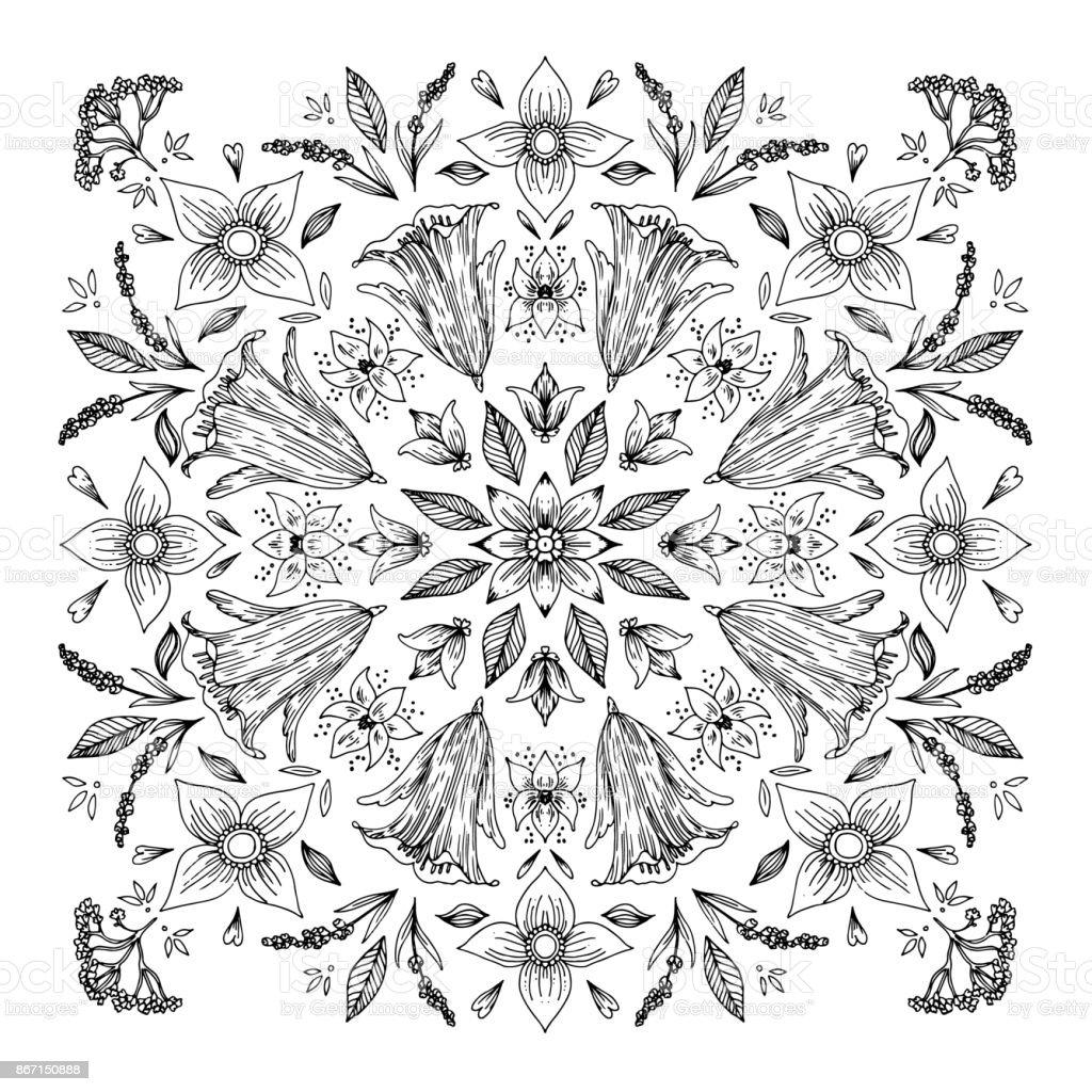 Ornament Runden Mandala Schwarz Weißdoodlevektorillustration Malbuch ...