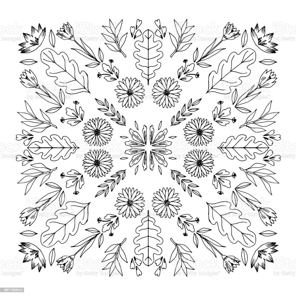 Ilustración De Ornamento Redondo Mandala Ilustración De Vector De Doodle De Blanco Y Negro Libro Para Colorear Para Los Niños Mayores Y Adultos Página