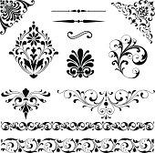 Set of black vector ornaments - scrolls, repeating borders, rule lines and corner elements.