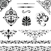 Set of black vector ornaments - scrolls, repeating borders, rule lines and corner elements.