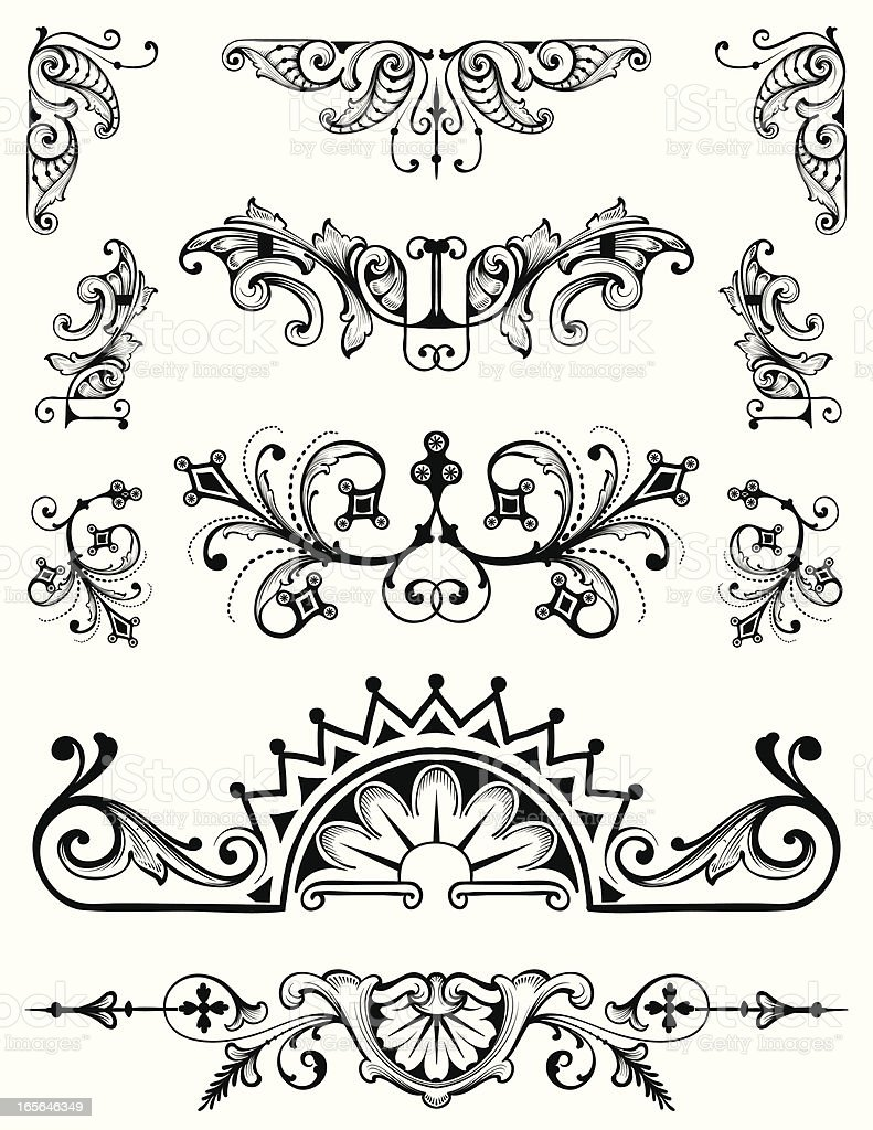 Ornament Set vector scrollwork hand engraving designs royalty-free stock vector art