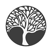 Ornament tree icon on black background. Vector illustration.