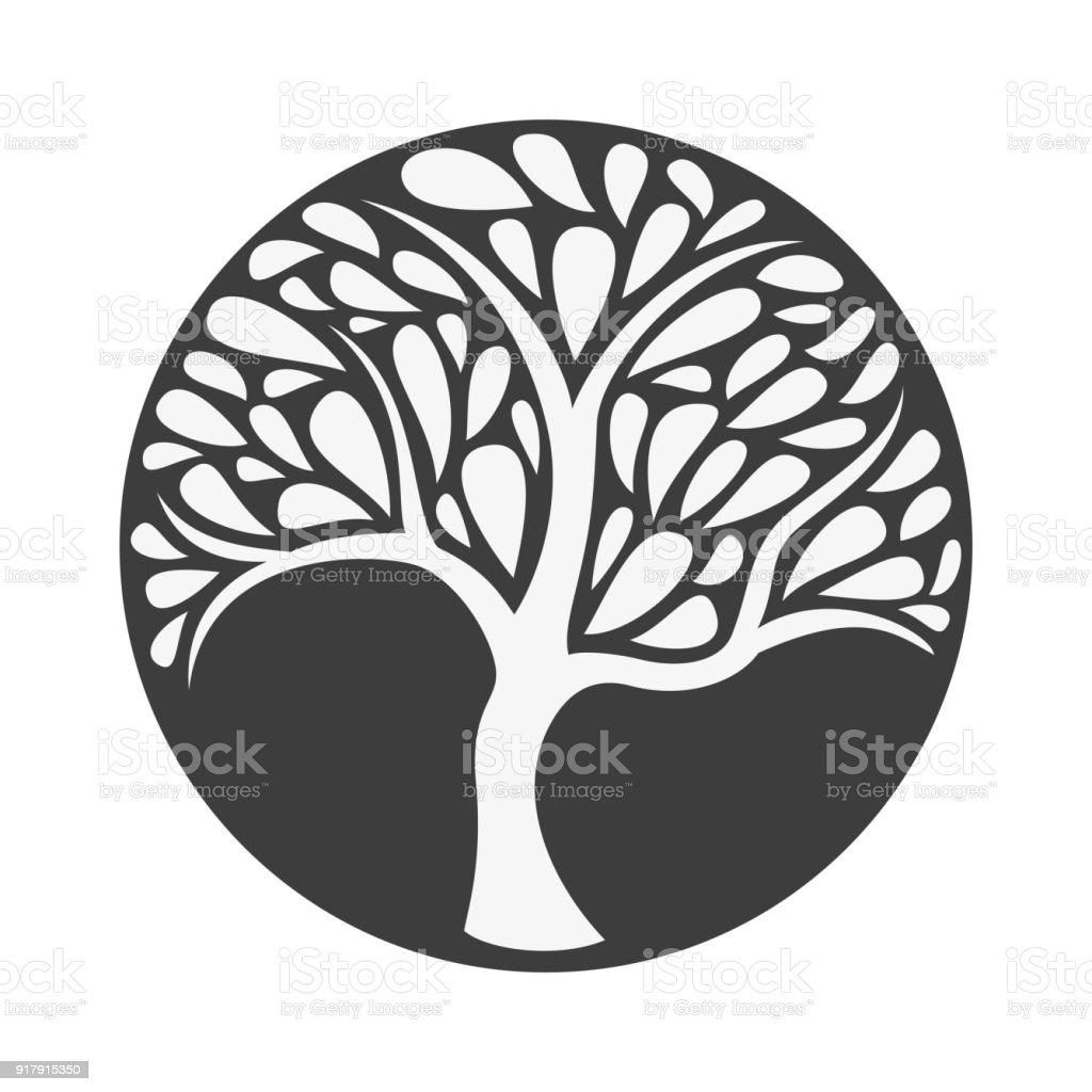 Ornement arbre icône sur fond noir. Illustration vectorielle. - Illustration vectorielle