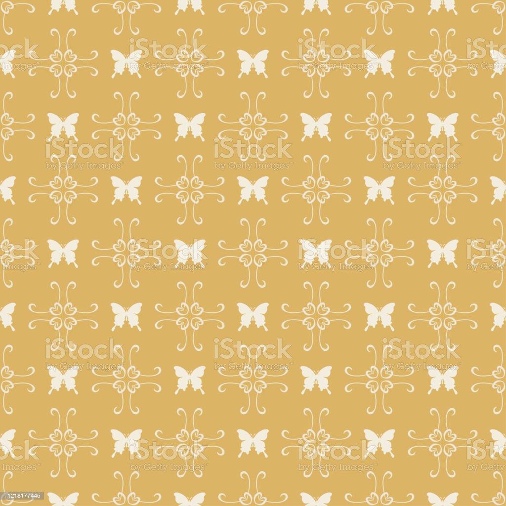 金の背景に蝶と装飾シームレス壁紙パターンインテリアデザインのためのモダンな壁紙かわいいベクターパターン イラストレーションのベクターアート素材や画像を多数ご用意 Istock