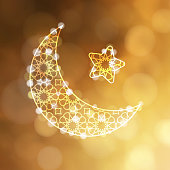 Ornamental arab moon with star and bokeh lights. Greeting card, invitation for muslim holiday Ramadan Kareem or Eid-ul-Fitr. Golden festive blurred vector illustration background.