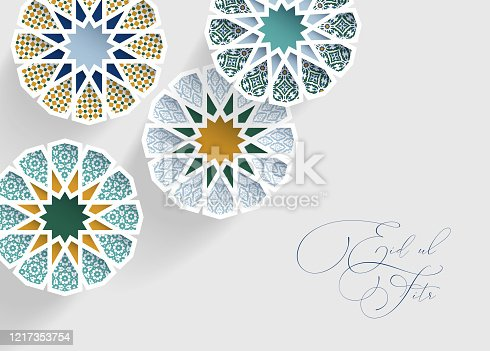 istock Ornamental arabic tiles, patterns through white cut out stars, long shadows. Greeting card, invitation for Muslim holiday Ramadan Kareem, Eid ul Adha. Modern vector illustration bacground, web banner. 1217353754
