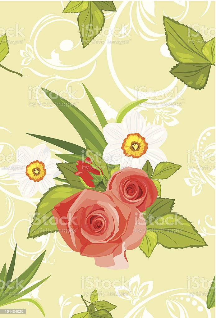 Ornamental background with roses and daffodils royalty-free ornamental background with roses and daffodils stock vector art & more images of abstract