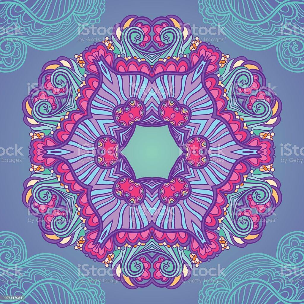 Ornamental blue and violet mandala vector art illustration