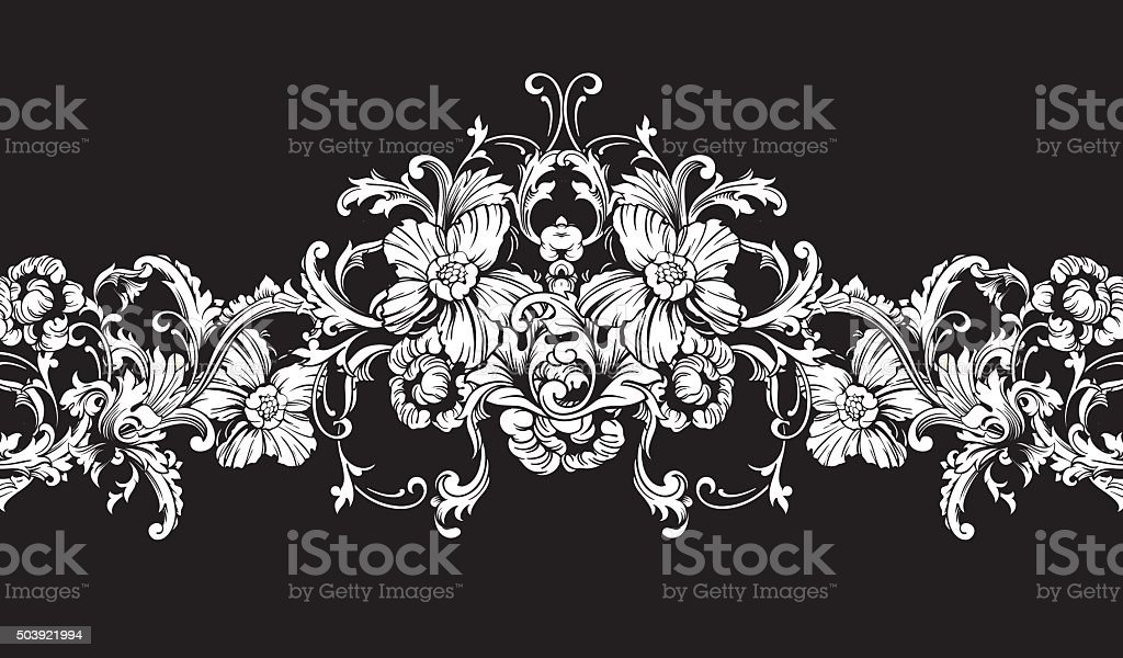 Entengrenze Rahmen Barock Muster Vektor Nahtlose Stock Vektor Art