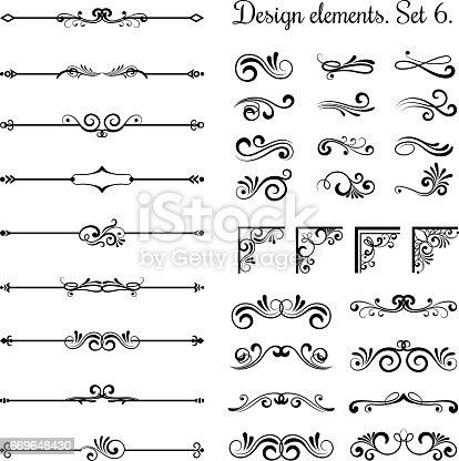 istock Ornamental borders and flourish corners, royal ornament swirls  vector vintage page dividers 669648430