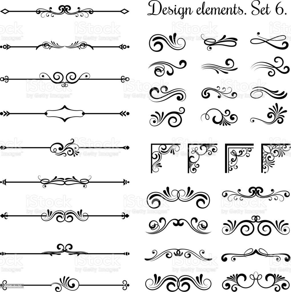 Bordures décoratives et des coins de s'épanouir, ornement royal tourbillons vector diviseurs page vintage - Illustration vectorielle