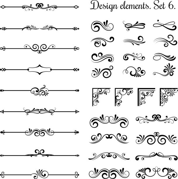 Ornamental borders and flourish corners, royal ornament swirls  vector vintage page dividers vector art illustration