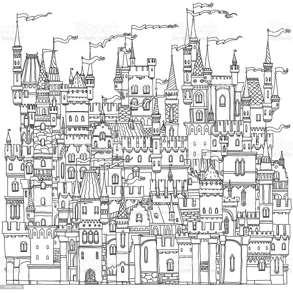Ejemplar castillo de cuento de hadas - ilustración de arte vectorial