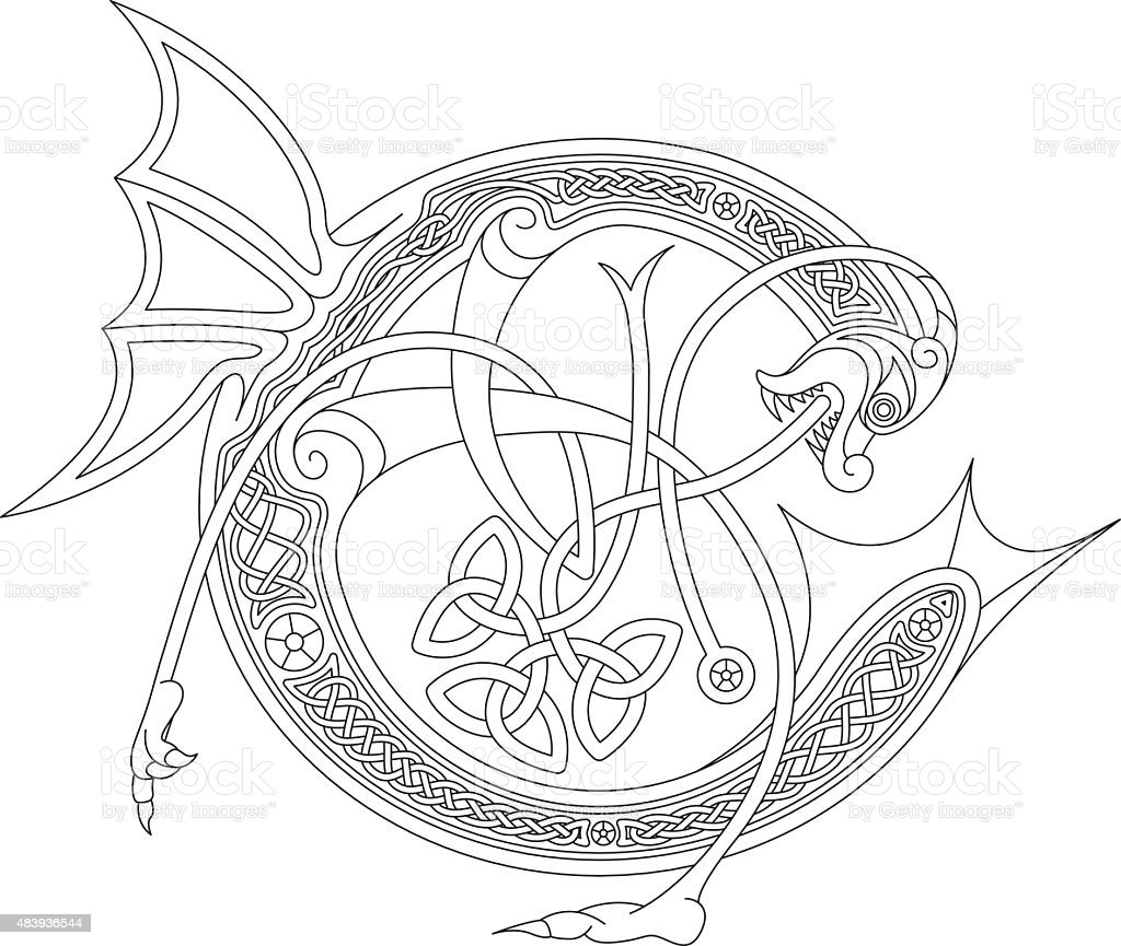 Ornamental celtic initial C drawing (Animal with endless knots) vector art illustration