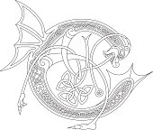 Ornamental celtic initial C drawing (Animal with endless knots)