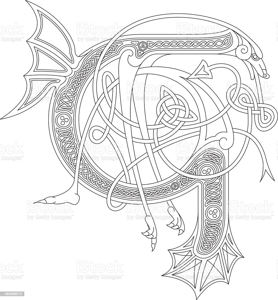 Ornamental celtic initial G drawing (Animal with endless knots) vector art illustration