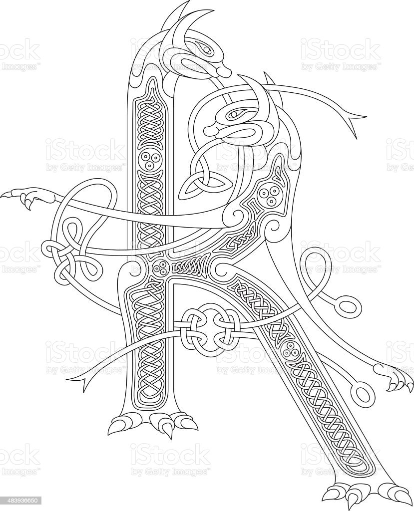 Ornamental celtic initial K drawing (Animal with endless knots) vector art illustration