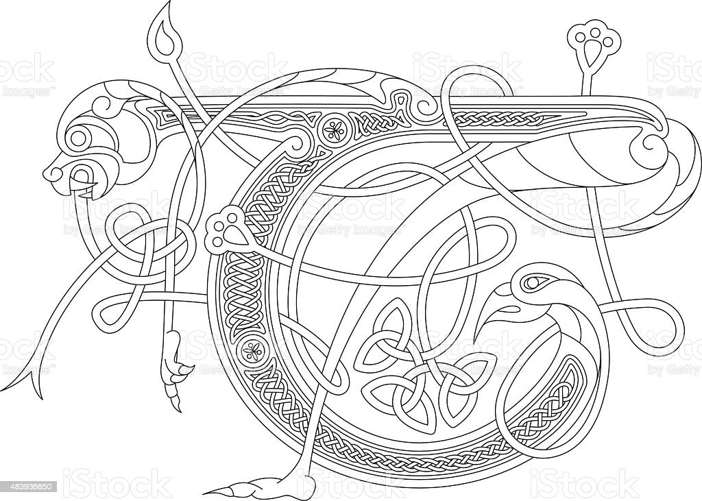 Ornamental celtic initial T drawing (Animal with endless knots) vector art illustration