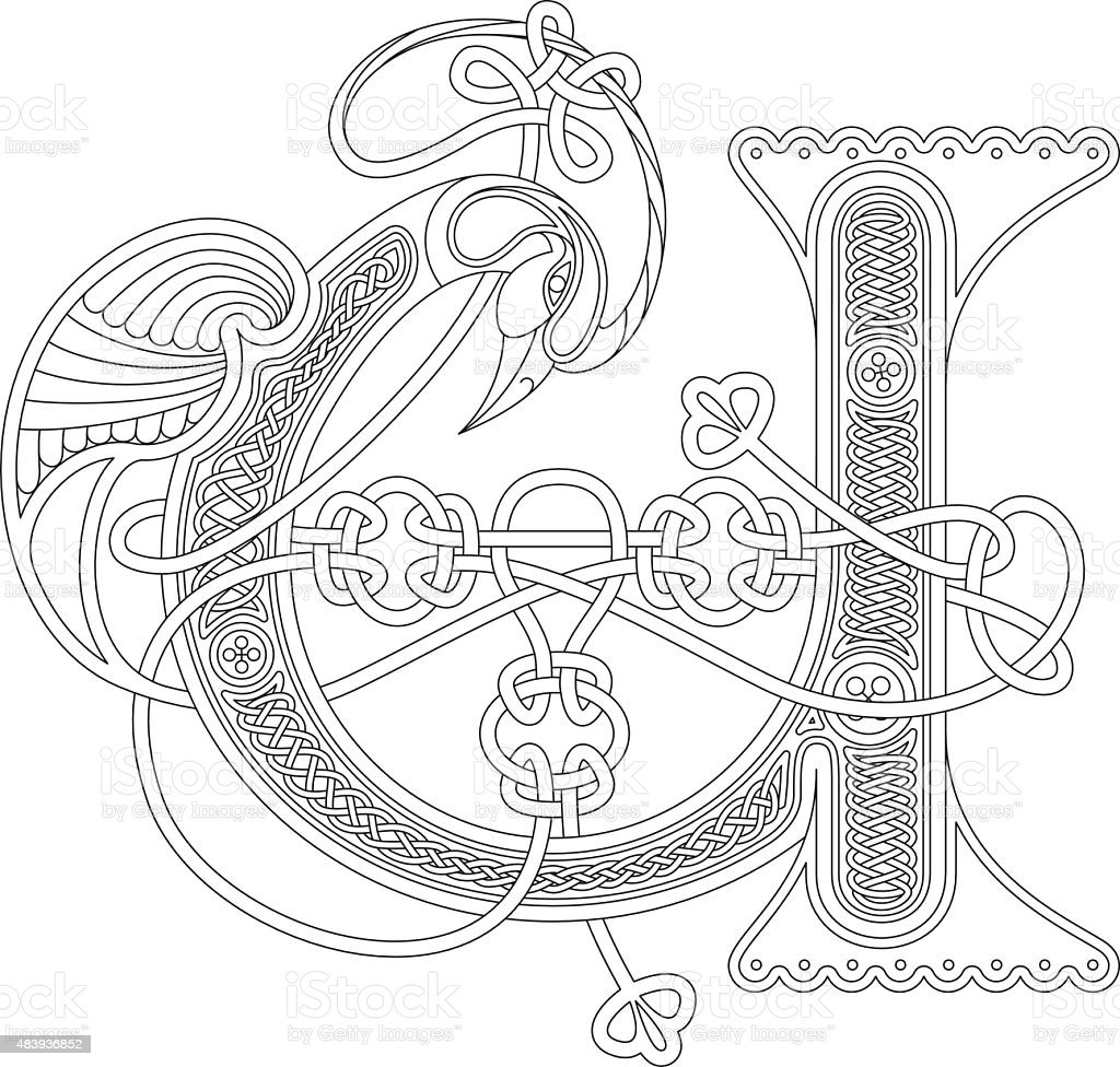 Ornamental celtic initial U drawing (Animal with endless knots) vector art illustration