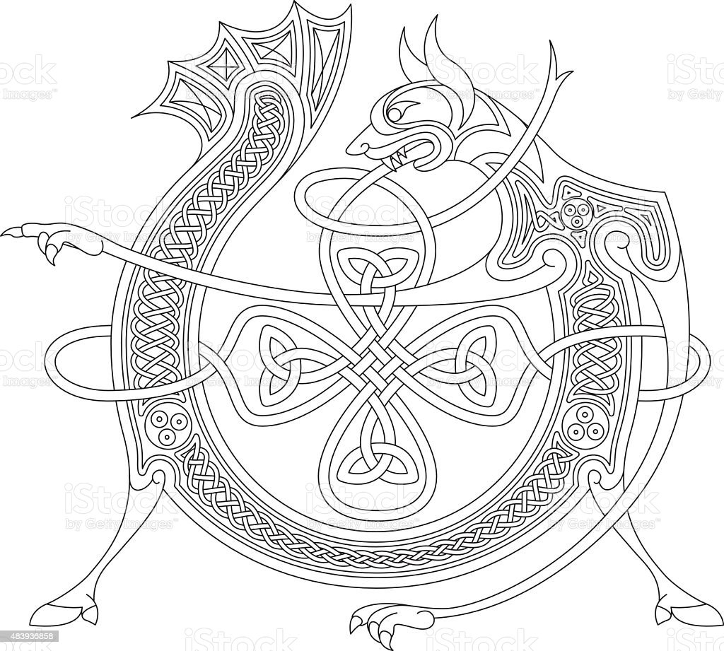 Ornamental celtic initial V drawing (Animal with endless knots) vector art illustration