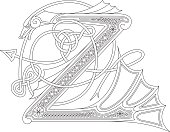 Ornamental celtic initial Z drawing (Animal with endless knots)