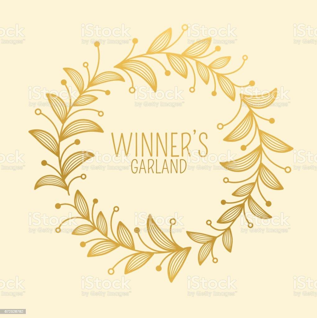 ornamental circle border golden winners garland stock vector art