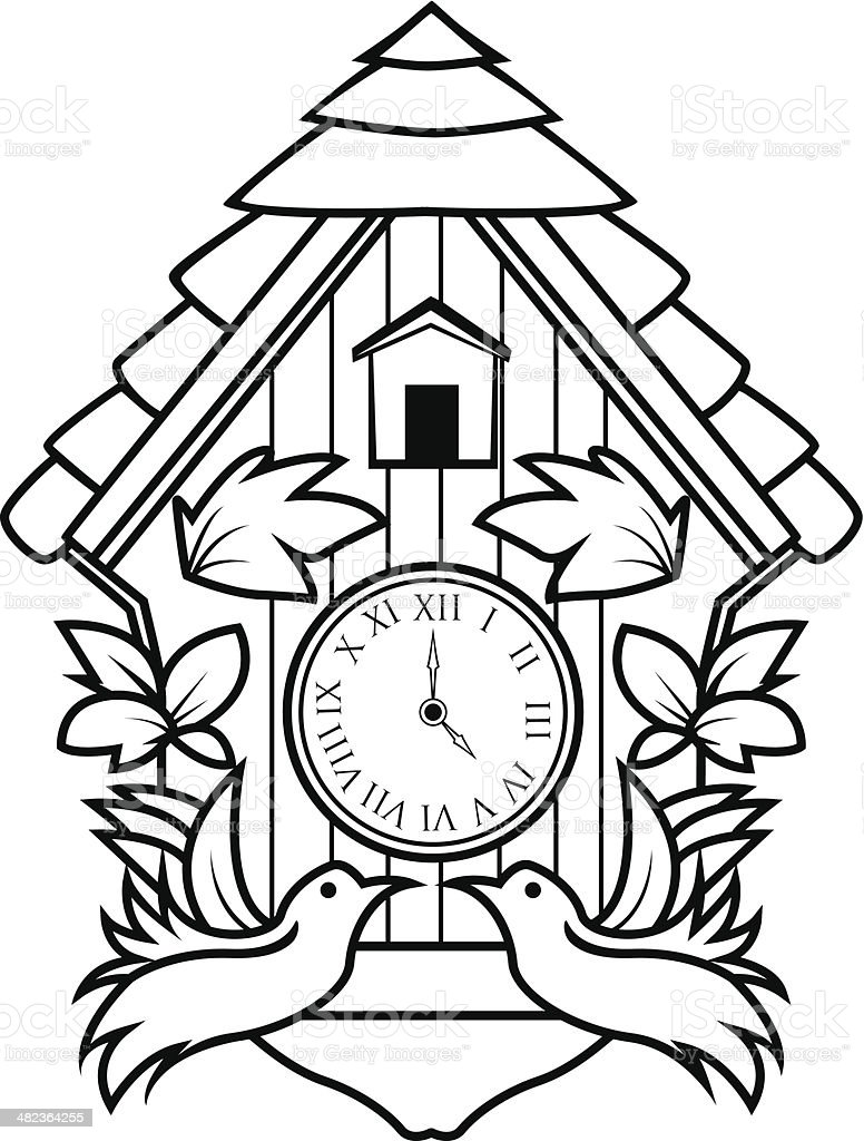 Ornamental Cuckoo Clock Royalty Free Stock Vector Art