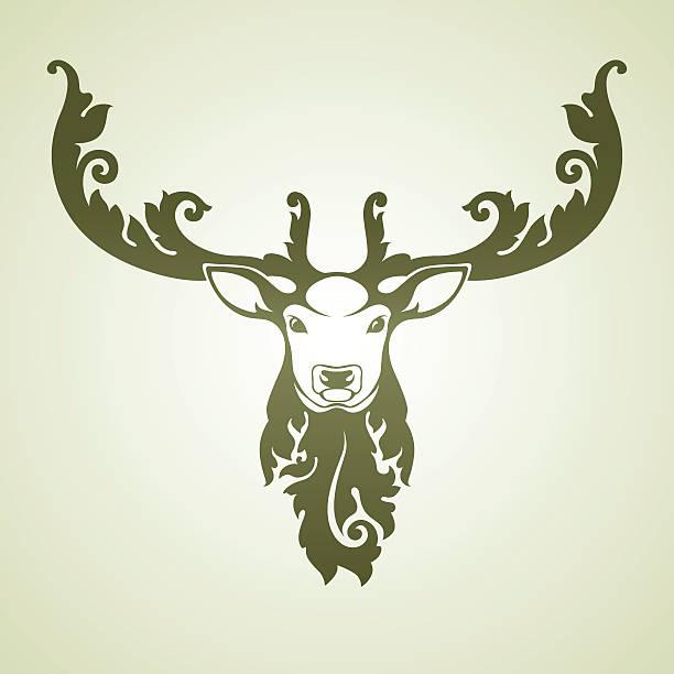 Ornamental decorative deer Decorative vector image of a deer mistery stock illustrations