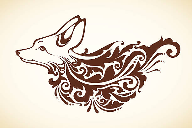 Ornamental decorative fox Ornamental vector decorative fox mistery stock illustrations