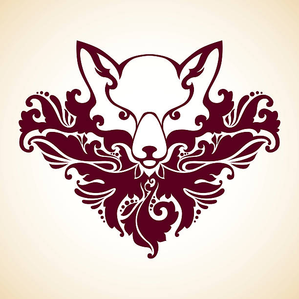 Ornamental decorative fox Ornamental decorative fox. Vector floral pattern animal illustration mistery stock illustrations
