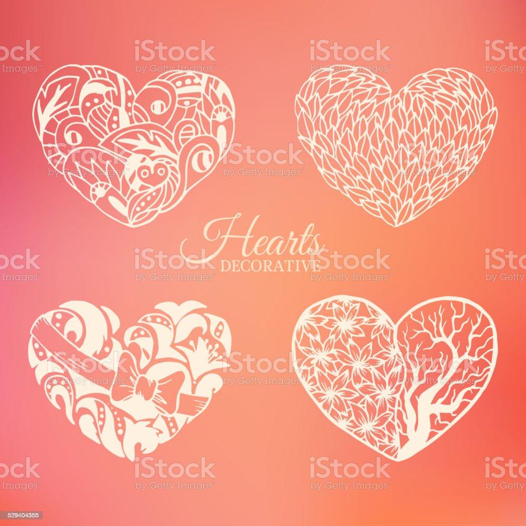 Coeur set d'ornement décoratif sur fond flou concept - Illustration vectorielle